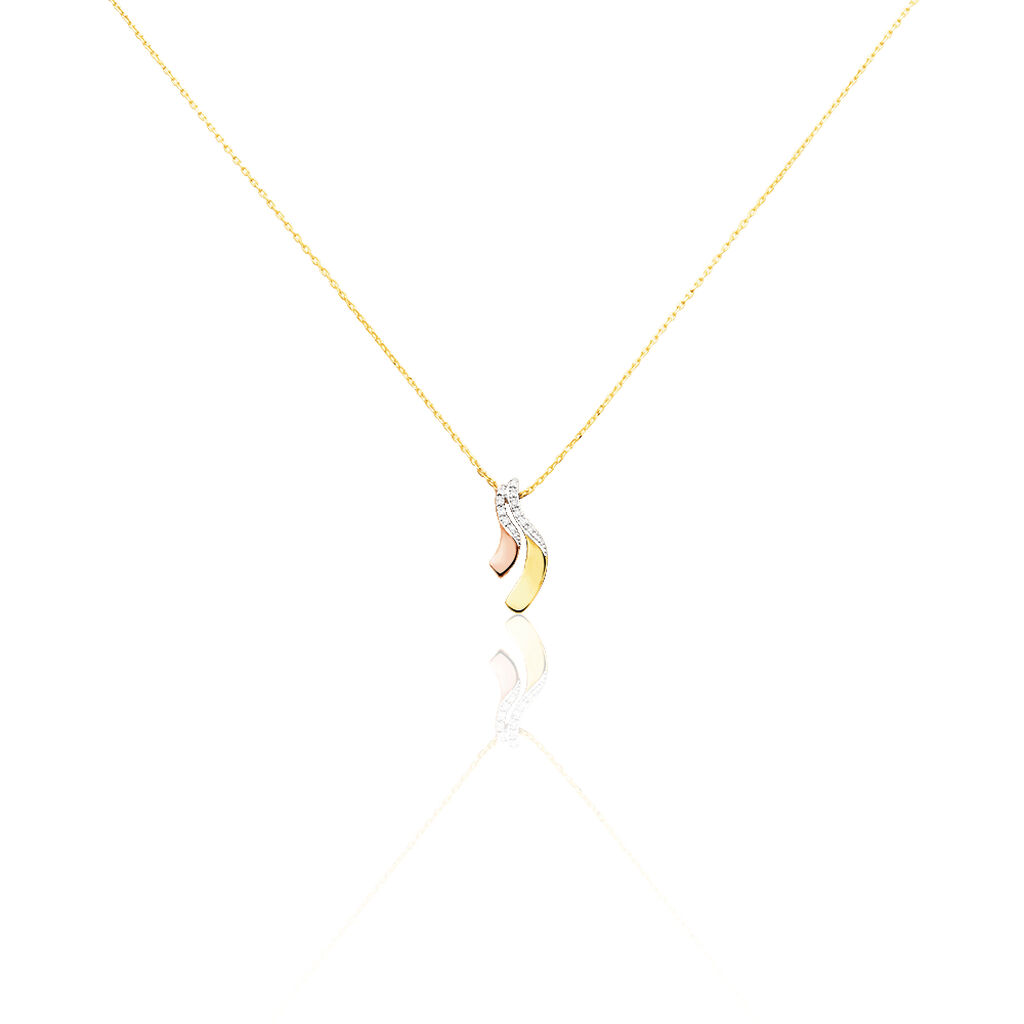 Damen Halskette Gold 375 Tricolor Diamanten - Ketten mit Anhänger Damen | Oro Vivo