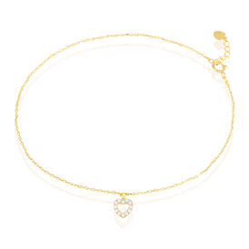 Damen Fußkette Gold 375 Zirkonia Herz - Fussketten Damen | Oro Vivo