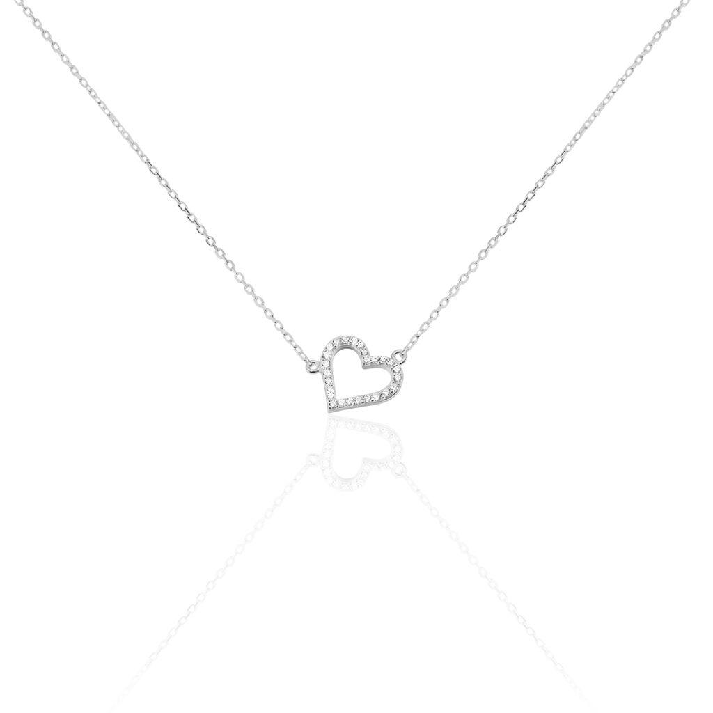 Damen Halskette Silber 925 Zirkonia Herz - Herzketten Damen | Oro Vivo