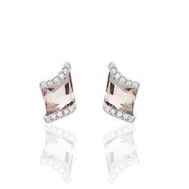 Damen Ohrstecker Silber 925 Rosé Glas  -  Damen | Oro Vivo