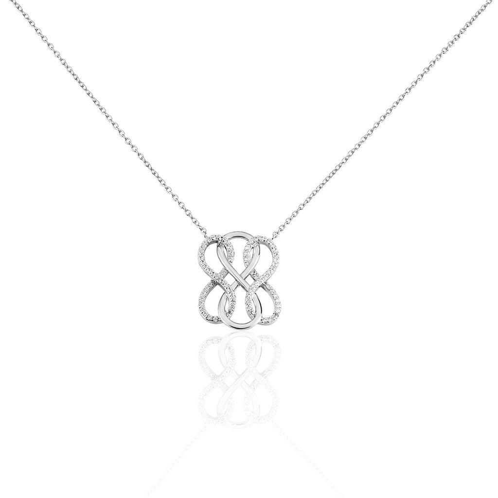 Damen Halskette Silber 925 Zirkonia Infinity - Ketten mit Anhänger Damen   Oro Vivo