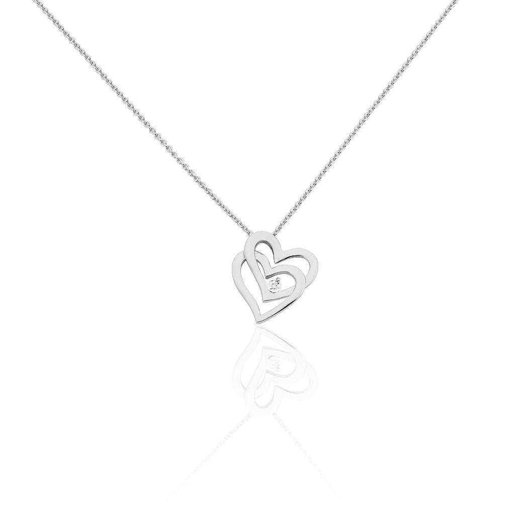 Damen Halskette Silber 925 Diamant 0,01ct - Herzketten Damen | Oro Vivo