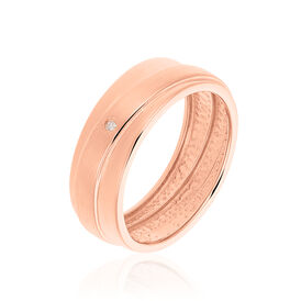 Damenring Silber 925 Rosé Vergoldet Diamant 0,02ct - Ringe mit Edelsteinen Damen   Oro Vivo