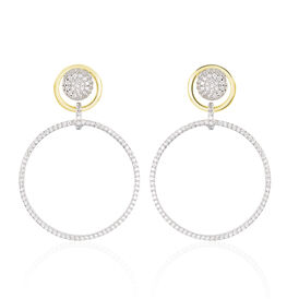 Damen Ohrstecker Lang Silber 925 Bicolor Zirkonia - Ohrringe Damen | Oro Vivo