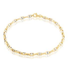 Herrenarmband Stegpanzerkette Gold 375 Bicolor  -  Herren | Oro Vivo