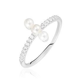 Damenring Silber 925 Zirkonia Synthetische Perlen -  Damen | Oro Vivo