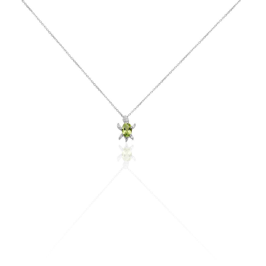 Damen Halskette Weißgold 375 Peridot Zirkonia - Ketten mit Anhänger Damen | Oro Vivo