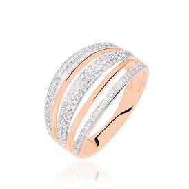 Damenring Gold 750 Bicolor Diamanten 0,327ct - Ringe mit Edelsteinen Damen   Oro Vivo
