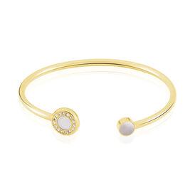 Damenarmband Edelstahl Vergoldet Perlmutt  - Armreifen Damen | Oro Vivo