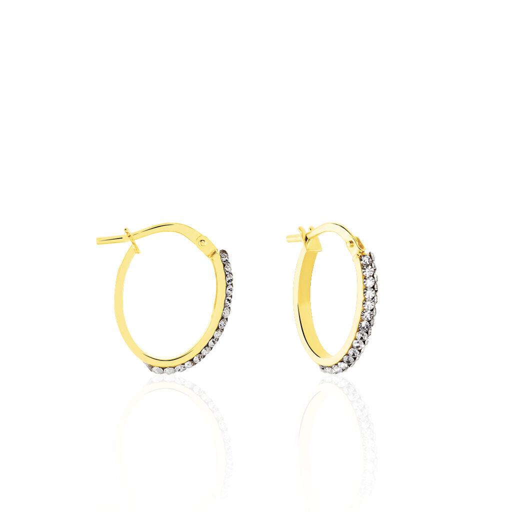 Damen Creolen Gold 375 Kristall  - Creolen Damen   Oro Vivo