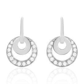 Damen Ohrhänger Lang Silber 925 Zirkonia Kreis - Ohrhänger Damen   Oro Vivo