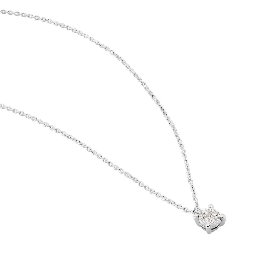 Damen Halskette Weißgold 375 Diamant 0,07ct - Ketten mit Anhänger Damen   Oro Vivo