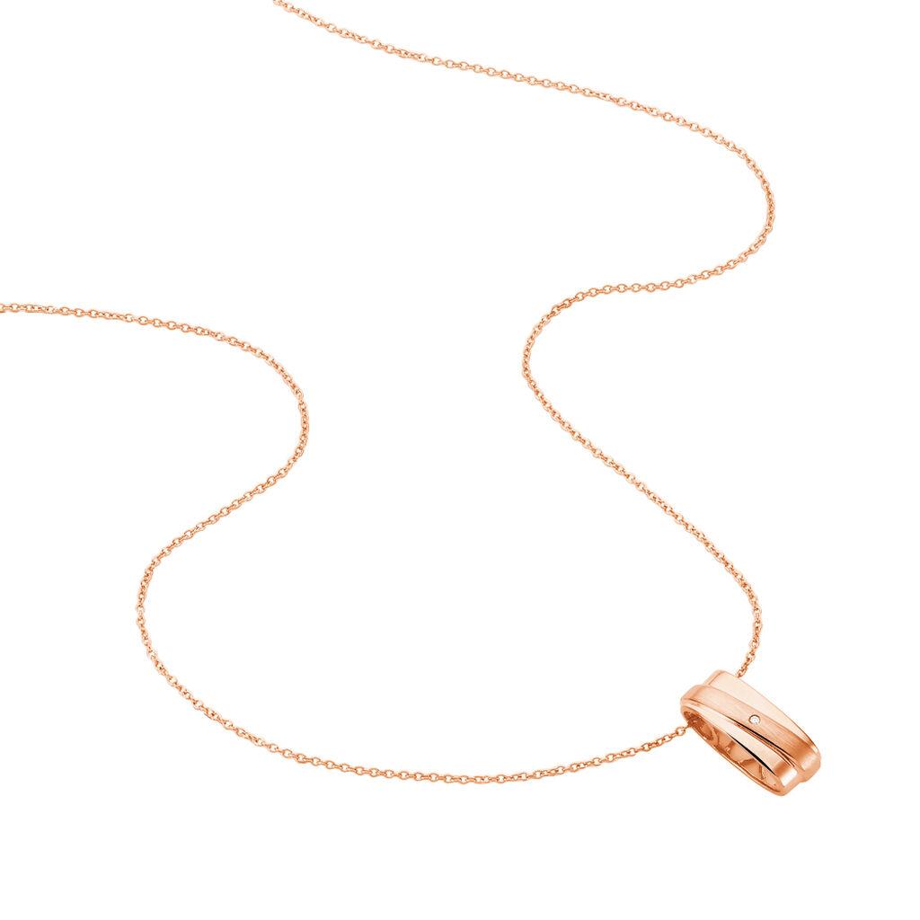 Damen Halskette Silber 925 Rosé Vergoldet Diamant - Ketten mit Anhänger Damen | Oro Vivo