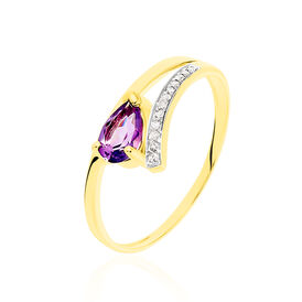 Damenring Gold 375 Amethyst Zirkonia - Ringe mit Stein Damen   Oro Vivo