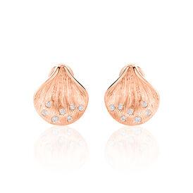 Damen Creolen Gold 750 Rosé Vergoldet Diamant - Creolen  | Oro Vivo