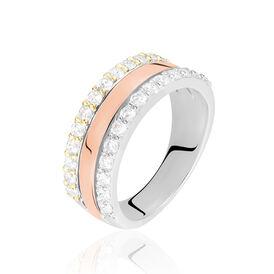 Damenring Silber 925 Tricolor Vergoldet Zirkonia - Ringe mit Stein Damen | Oro Vivo