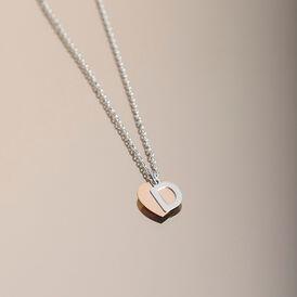 Damen Halskette Silber 925 Bicolor Buchstabe D - Herzketten    Oro Vivo