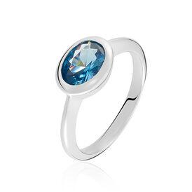 Damenring Silber 925 Blauer Stein - Ringe mit Stein Damen | Oro Vivo
