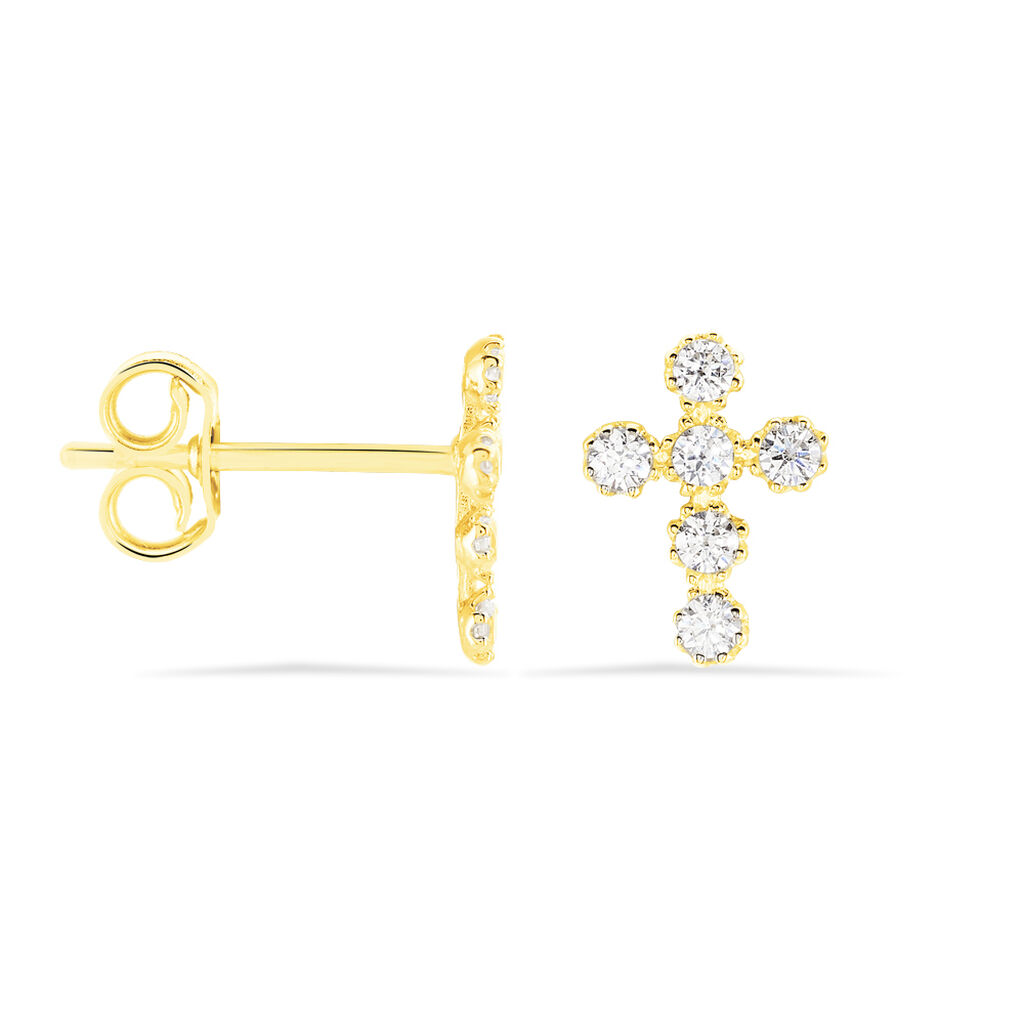 Damen Ohrstecker Gold 375 Zirkonia Kreuz - Ohrstecker Damen | Oro Vivo