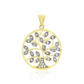 Anhänger Gold 375 Bicolor Zirkonia Lebensbaum - Schmuckanhänger Damen   Oro Vivo