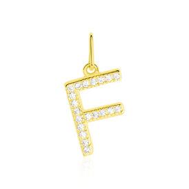 Anhänger Gold 375 Zirkonia Buchstabe F - Personalisierte Geschenke Damen | Oro Vivo