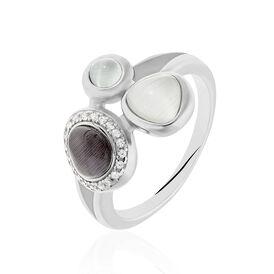 Cocktailring Silber 925 Zirkonia Glassteine -  Damen | Oro Vivo