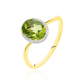Solitärring Gold 375 Peridot  - Ringe mit Stein Damen | Oro Vivo