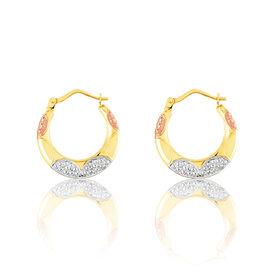 Damen Creolen Gold 375 Tricolor Diamantiert 19mm - Creolen Damen | Oro Vivo