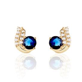 Damen Ohrstecker Vergoldet Blauer Stein - Ohrstecker Damen | Oro Vivo