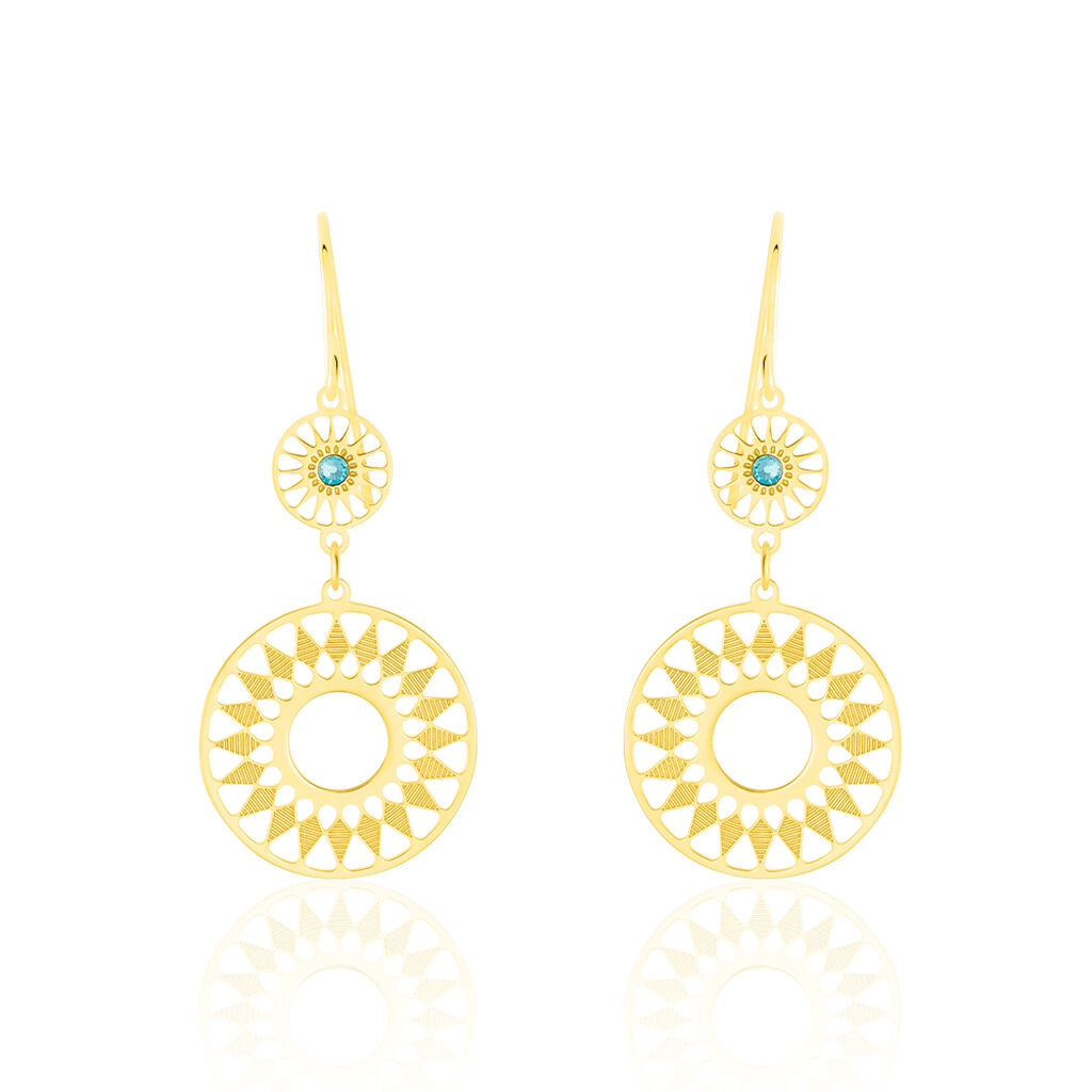 Damen Ohrhänger Lang Gold 375 Türkiser Zirkonia  - Ohrhänger Damen | Oro Vivo