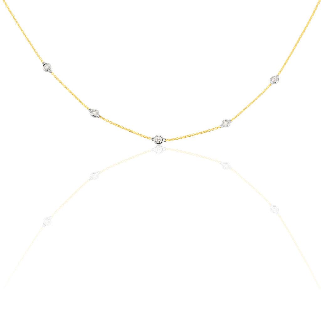 Damen Collier Gold 750 Bicolor Diamanten 0,22ct - Ketten mit Stein Damen | Oro Vivo
