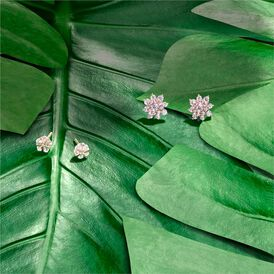 Damen Ohrstecker Silber 925 Rosé Vergoldet Blume - Ohrstecker Damen   Oro Vivo