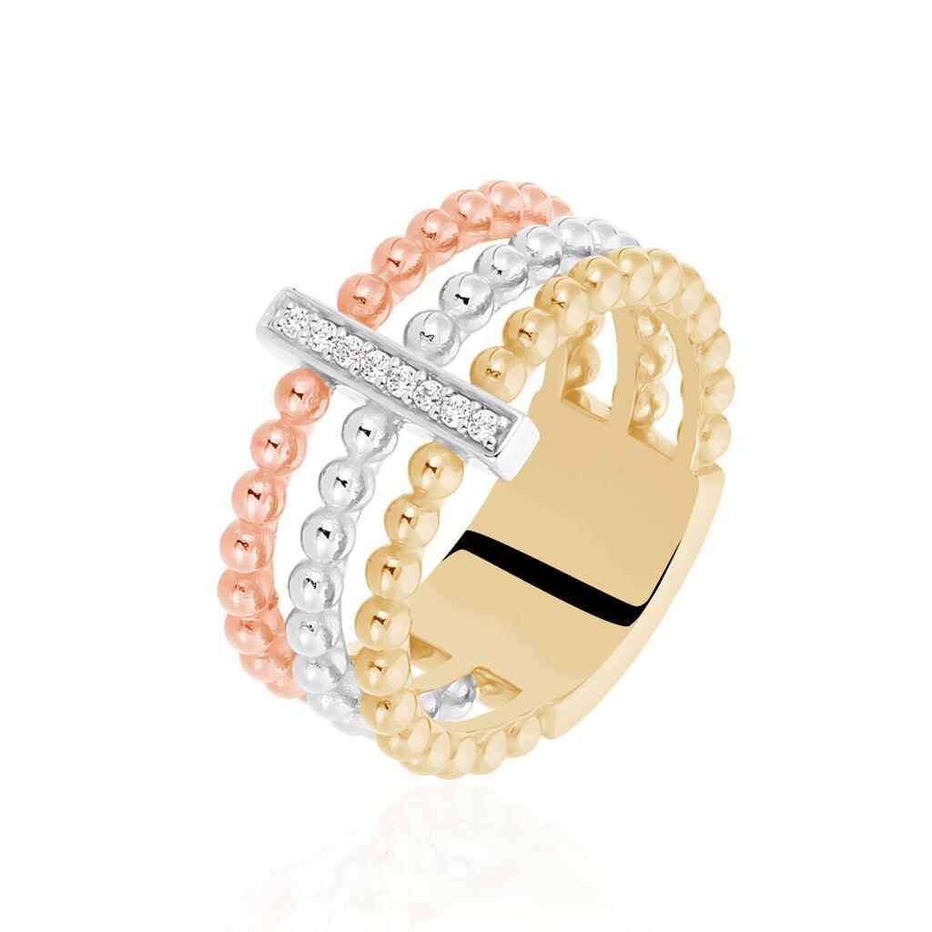 Damenring Silber 925 Vergoldet Tricolor Zirkonia - Black Friday Damen | Oro Vivo