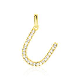 Anhänger Gold 375 Zirkonia Buchstabe U - Personalisierte Geschenke Damen | Oro Vivo