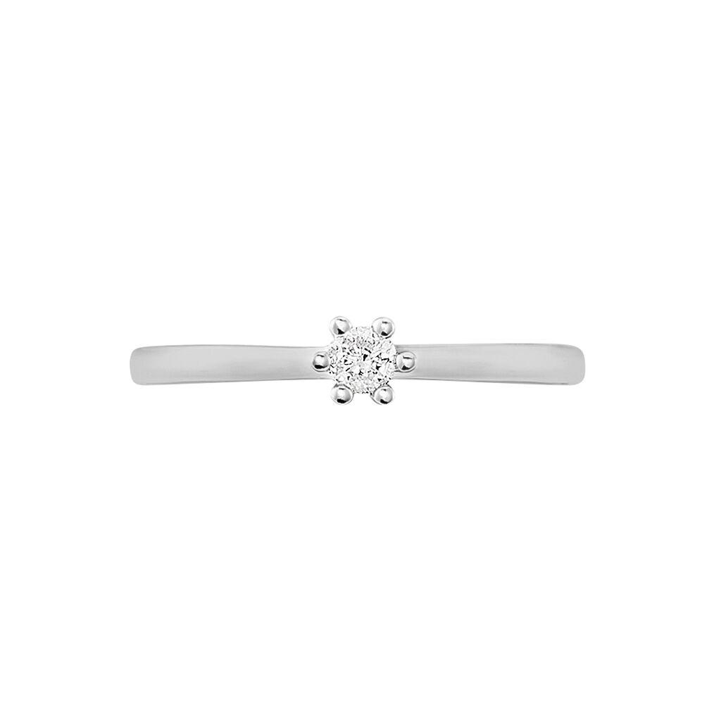 Solitärring Weißgold 585 Diamant 0,1ct - Ringe mit Edelsteinen Damen | Oro Vivo