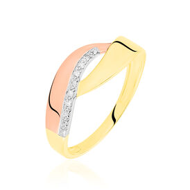 Damenring Gold 375 Tricolor Diamant 0,018ct - Ringe mit Edelsteinen Damen | Oro Vivo