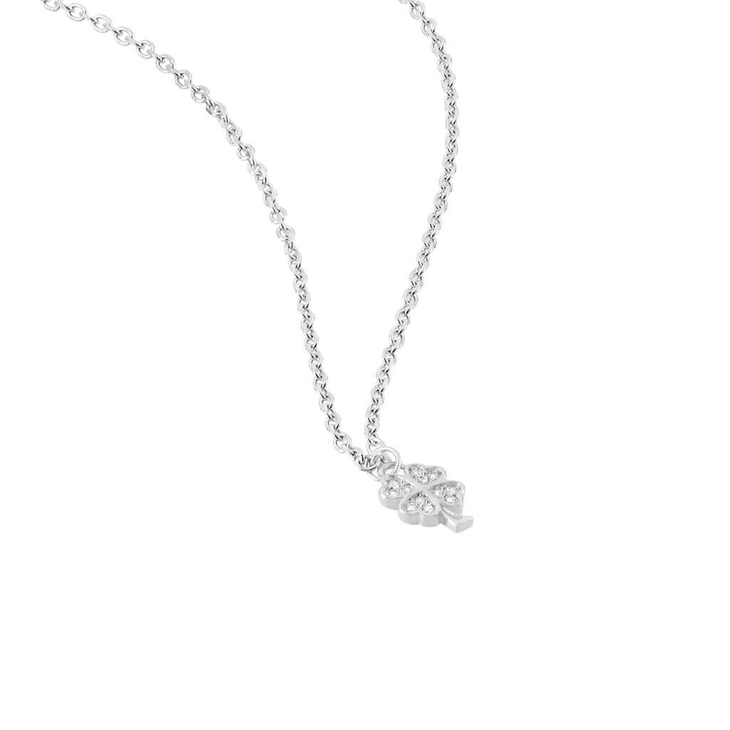 Kinder Halskette Silber 925 Zirkonia Klee - Ketten mit Anhänger Kinder | Oro Vivo