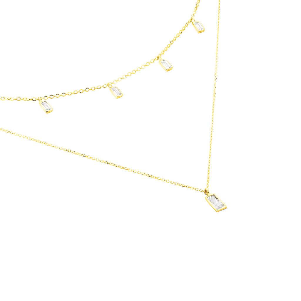 Damen Halskette Gold 375 Zirkonia - Ketten mit Stein Damen   Oro Vivo