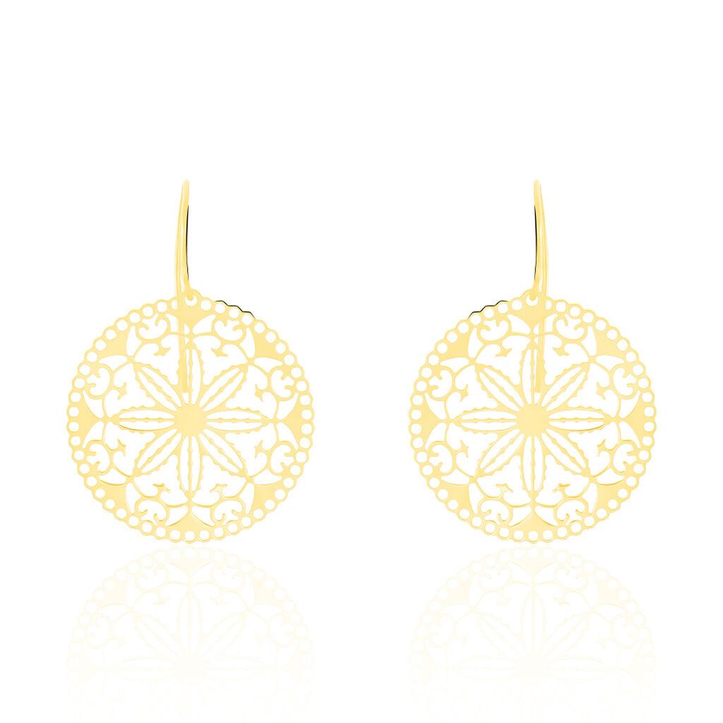Damen Ohrhänger Lang Gold 375 Blume - Ohrhänger Damen   Oro Vivo
