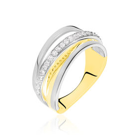 Damenring Gold 750 Bicolor Diamanten 0,21ct - Ringe mit Edelsteinen Damen | Oro Vivo
