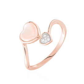 Damenring Roségold 375 Diamanten 0,025ct Herz - Ringe mit Stein Damen   Oro Vivo