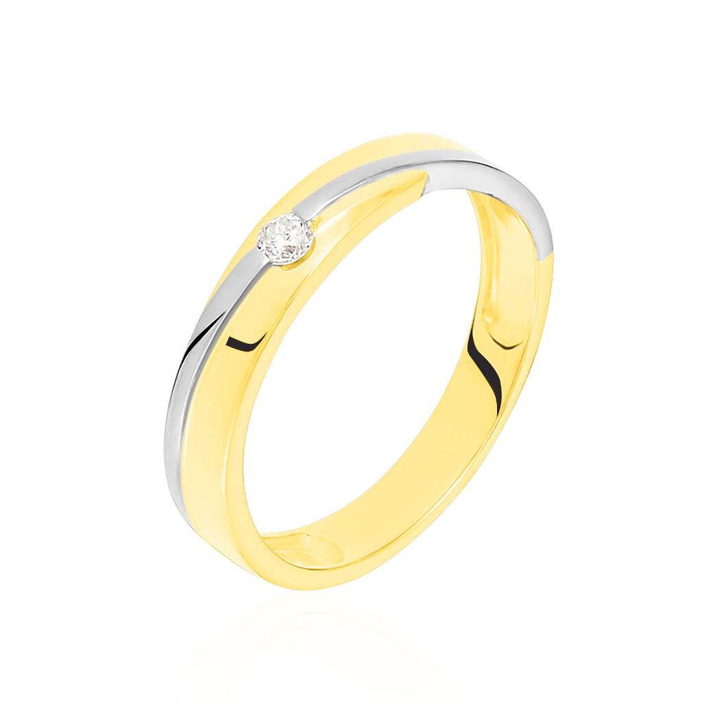 Damen Ehering Gold 375 Bicolor Diamant 0,06ct - Eheringe Damen | Oro Vivo