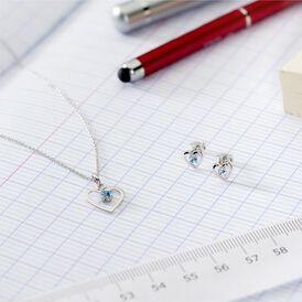 Kinder Ohrstecker Silber 925 Blauer Kristall Herz - Ohrstecker Kinder | Oro Vivo