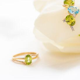 Damenring Gold 375 Peridot Zirkonia - Ringe mit Stein Damen   Oro Vivo