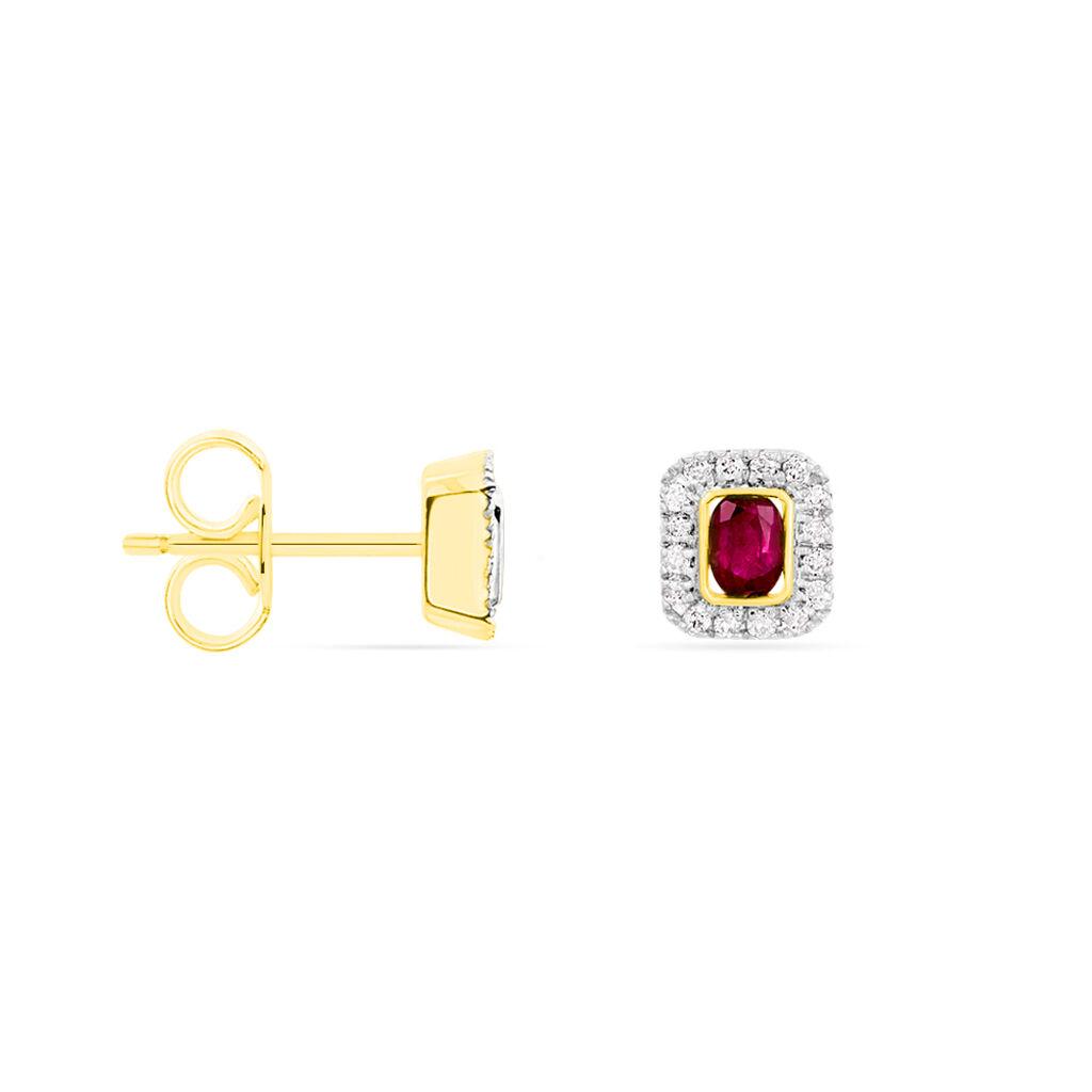 Damen Ohrstecker Gold 375 Rubin Diamant 0,1ct  - Ohrstecker Damen | Oro Vivo