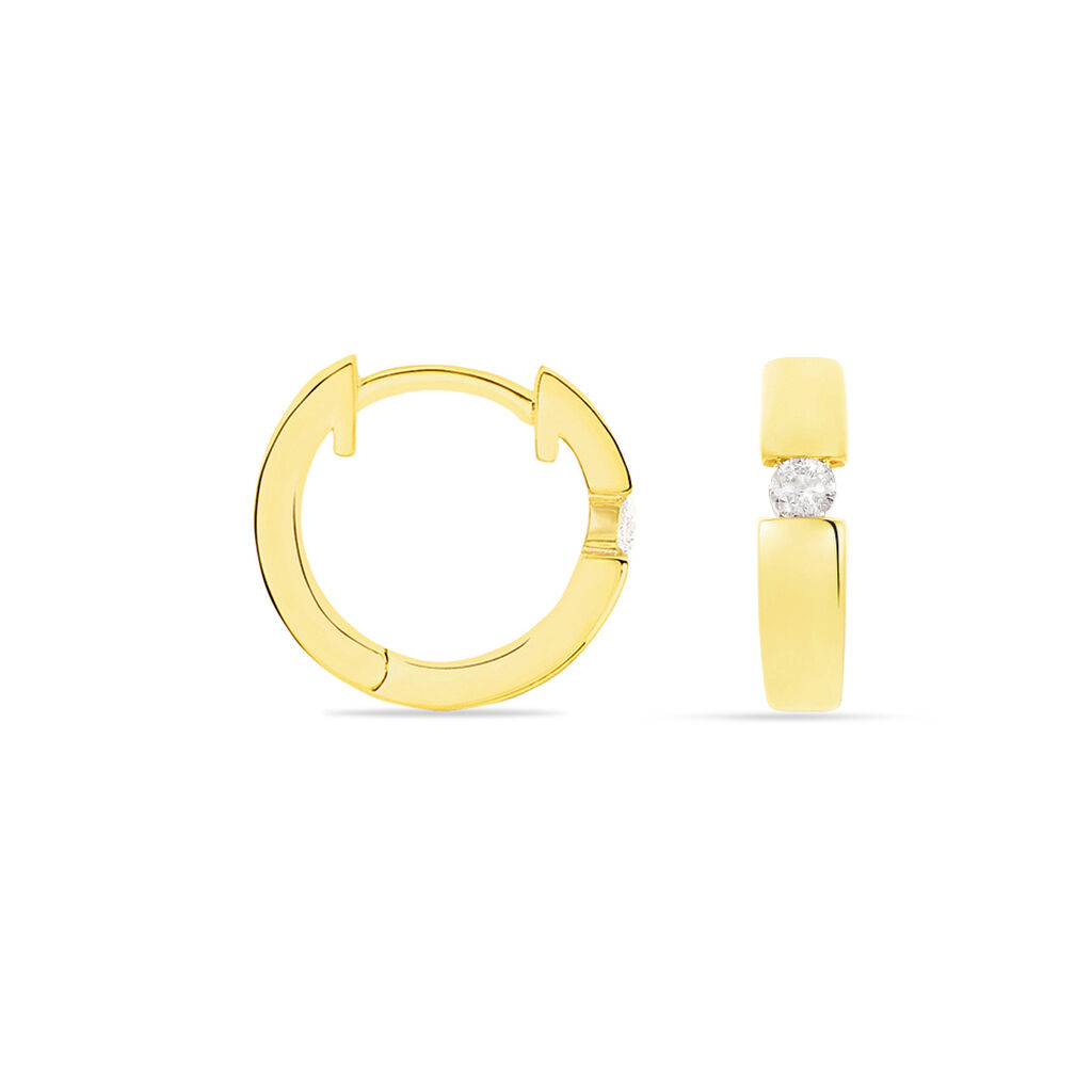 Damen Creolen Gold 585 Diamant 0,1ct  - Creolen Damen | Oro Vivo