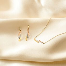 Damen Ohrstecker Lang Gold 375 Tricolor Zirkonia - Ohrstecker lang Damen | Oro Vivo