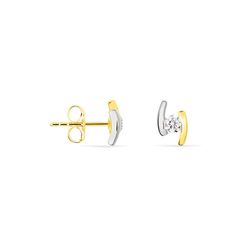 Damen Ohrstecker Gold 375 Bicolor Zirkonia  - Ohrstecker Damen | Oro Vivo