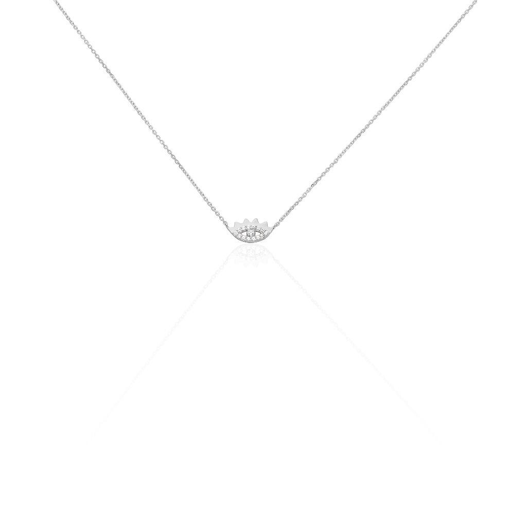 Damen Halskette Weißgold 375 Zirkonia Auge - Ketten mit Anhänger Damen | Oro Vivo