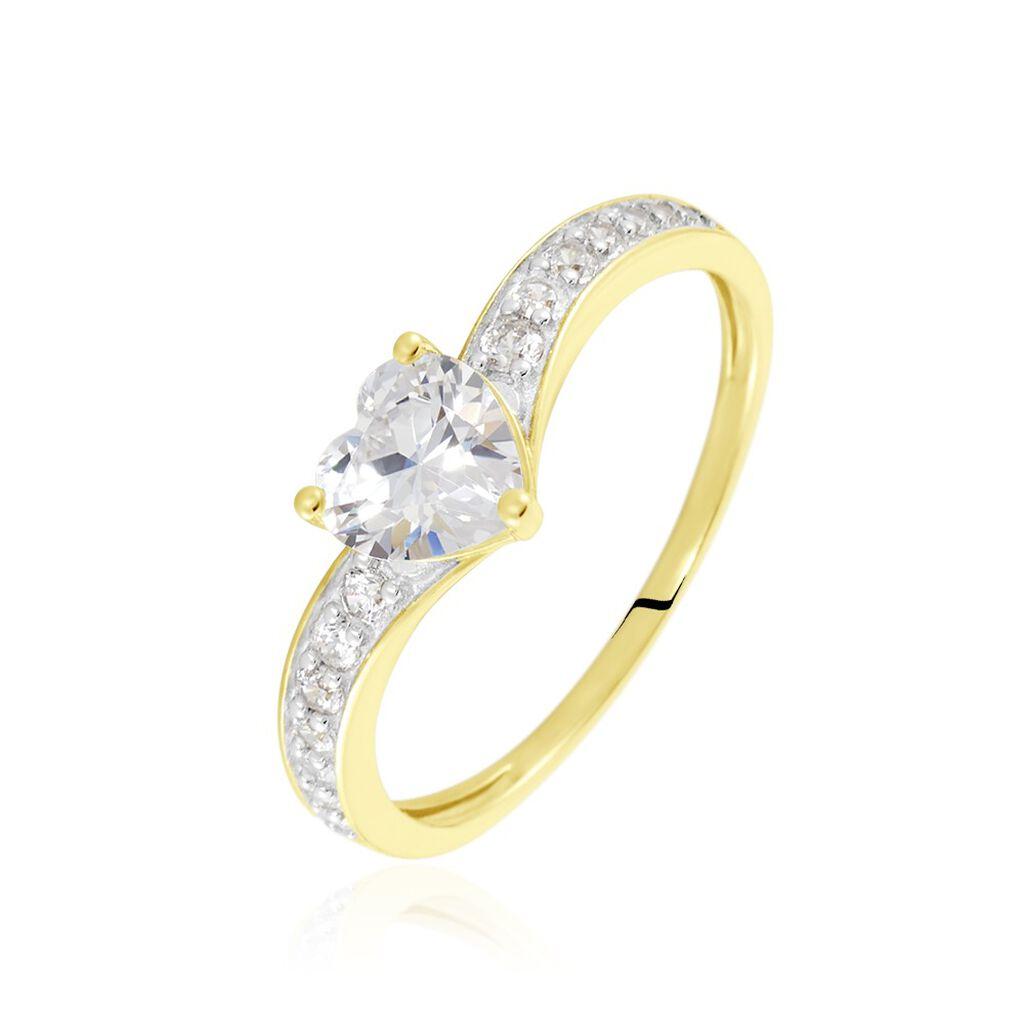 Damenring Gold 375 Zirkonia Herz - Ringe mit Stein Damen | Oro Vivo